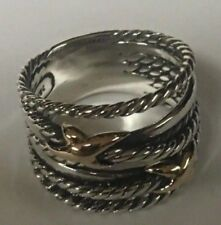 David Yurman Sterling Silver Double X Crossover Ring with 18K Gold Size 7