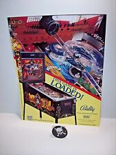 BALLY BLACK ROSE ORIGINAL PINBALL MACHINE NOS SALES FLYER + PROMO SKULL PLASTIC