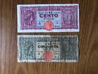 LOTTO 2 BANCONOTE LIRE 50 100 ITALIA TURRITA SUBALPINA
