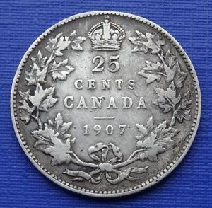 Canada 25 Cents Coin~1907 Edward VII, 925 Silver 5.8g~KM#11~Fine~X270