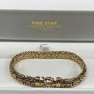 """Estate14k Yellow Gold Byzantine 7.25"""" Bracelet AK Turkey 11.2 Grams"""