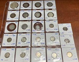 2.62 ASW Canada Silver Coin Lot 1874-1968 5 10 25 $1 Set Canadian 1966 Dollar