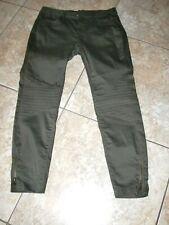 Women~MS MODE~MULTI BLEND~Olive Green~Slim~Stretch~Design Pants size 42~32W/29L