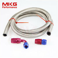 AN4 -4 4AN Stainless Braided Steel Oil Fuel Line Hose Kit 1FT 0°/90° Fitting SE
