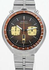 Vintage 1977 SEIKO6138 0040 Bullhead Speedtimer Wrist Watch Fishbone Bracelet