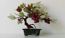 Vecchia pianta in giada. Old plant with vase and grapes in various quality jade