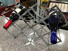 Chrome Folding Wine Rack Excellent Condition Holds 8-10 Bottles
