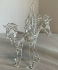 Vintage Pegasus Horse Figurine Hand Blown Glass