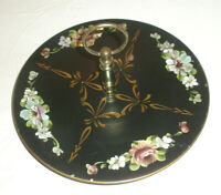 Vintage Metal Tole Hand Painted Floral Serving Plate with Handle