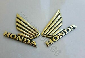 Pair of Motorcycle GOLD 3D ABS Fuel Tank Emblem Decal Sticker Custom For Honda