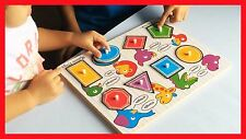 WOODEN PEG PUZZLE/JIGSAW SHAPES Toddler Toy/Gift