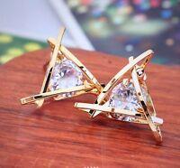 Womens Triangle Pierced Gold Crystal Zircon Stud Earrings