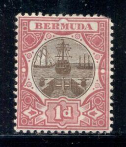 BERMUDA 29 SG32 MH 1902-03 1p red & brn Dry Dock Wmk Crown CA Cat$10