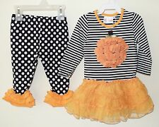 New One Posh Kid Pumpkin Outfit- Dress & Leggings ~ Girl's 24 Month