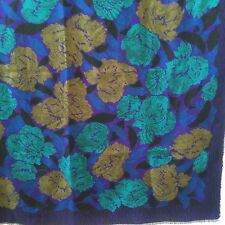 STUNNING WOOL BLEND FLORAL SCARF SHAWL IN JEWEL TONES
