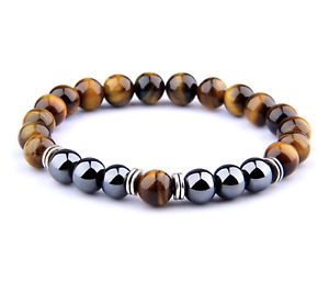 UK Anxiety Stress Relief Protection Tigers Eye/Hematite Gemstone Bracelet
