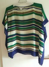 Ladies Blue & Green Stripe Top sz M/L by CAPTURE