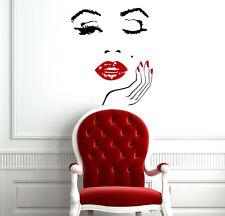 Large Wall Vinyl Decal Girls Face Lips Sticker Beauty Salon Decal Decor L171