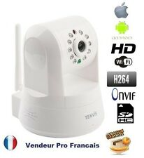 Robot Camera IP Reseau Wifi IR HD 720p 1.3 Megapixel lecteur sd carte ONVIF Blan
