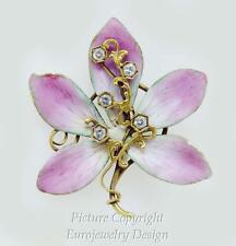 Estate Enamel Flower Pin w/Diam 0.40ctw 14k YG