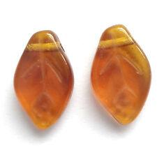 30 DK Smoke Topaz 12x7mm Czech Glass Leaf  Beads