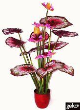 Plante Artificielle XL 120cm Lotus plante Arbre Buisson Fleurs Roses #N0013