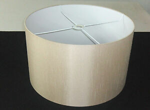"""18"""" Rolled Edge Coffee-Beige Satin Backed Duppion Lampshade With Light Diffuser"""