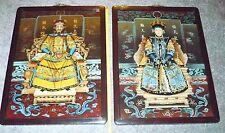 LARGE Reverse Painted GLASS PORTRAITS Emperor & Empress, Full Regalia on Thrones