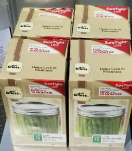 Kerr Wide Mouth Lids With Bands. (4) BOXES OF 12 LIDS AND RINGS (48 total)