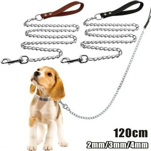 Heavy Duty Long Metal Dog Chain Lead with Leather Handle Extra Strong Leash