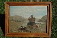 Großes antikes Gemälde Burg Pfalzgrafenstein Kaub Rhein Zollburg Bingen Ölbild