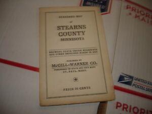 Vintage Standard Pocket Map Stearns    County Minnesota McGill-Warner
