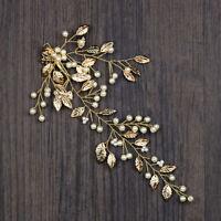 Pearl Wedding Hair Pins Bridesmaid Bridal Gold Leaves Hair Clips Headpiece Tiara