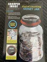 SHARPER IMAGE DIGITAL COUNTING SAVER MONEY JAR PIGGY BANK LCD BLACK RED LID NEW