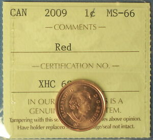 Canada 2009 Penny (Cent) - Graded by ICCS MS-66 (Red) Magnetic 2