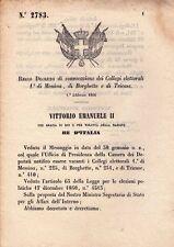 REGNO D'ITALIA - VITTORIO EMANUELE II° - RARO DECRETO - COLLEGIO DI MESSINA