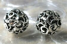 THAI .925 STERLING SILVER VINTAGE 11mm ROUND CARVED FOCAL BEAD #1733 - (1)