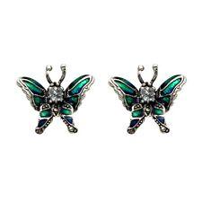 Sterling Silver Marcasite Butterfly Stud Earrings Blue Green Enamel Blue Topaz
