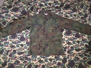 "Vintage ""Kamo"" Brand Green Dominant ERDL Camo Hunting Shirt, Ripstop, Size Small"