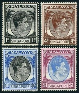 Singapore 1a,4a,17a,18a,perf 18,lightly hinged. King George VI,1952.Palms