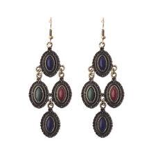 Women Vintage Bohemian Boho Colorful Turquoise Bronze Chain Oval Dangle Earrings