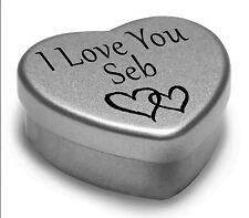 I Love You Seb Mini Heart Tin Gift For I Heart Seb With Chocolates
