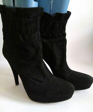 ALBANO Womens Black Suede Platform Stiletto Heel Ankle Boots Size UK 6 EUR 39