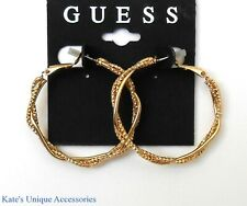 Guess Fashion Gold Tone Triple Wrapped Hoop Earrings NWT Gift Idea E162015DS