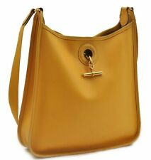 Authentic HERMES Leather Shoulder Bag Yellow 82681