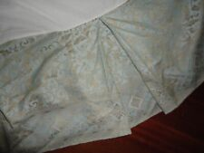 "CROSCILL AQUA BLUE GOLD SCROLL (1) KING BEDSKIRT 14"" DROP"