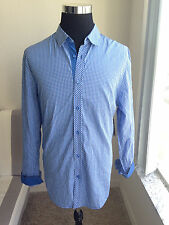 Mens GUESS Los Angeles Liberty Check Shirt Sailing Blue Slim Fit Size XL