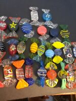 "10 Murano Art Glass Candies, Home Decorative Glass Candies 2"" Long Multicolor"