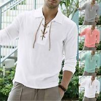 Men's Baggy Linen Long Sleeve Summer Cotton Retro V-Neck T-Shirts Tops Blouse