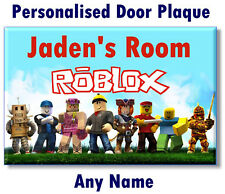 Personalised Roblox Door Name Plaque Sign bedroom -girl boy kid child gift wall